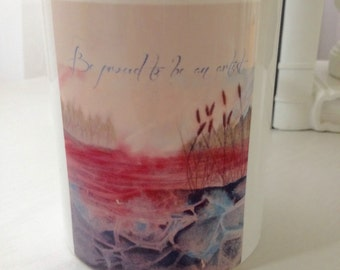 Be proud to be an artist : the mug. A Manon Jodoin's poetic watercolor printed on a white mug, statement mug, blue inside