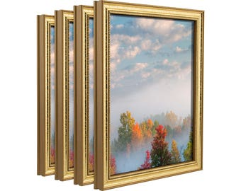 """Craig Frames, 8x10 Inch Aged Gold Picture Frame, Stratton .75"""" Wide, Set of Four (314GD0810L-4)"""