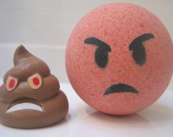 POOPBOM - Red Pouting Face Emoji Bath Bomb with Plastic Poop Emoji Toy Inside