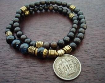 Tibetan Capped Onyx Indian Coin Mala Bracelet // Blue Tigers Eye 54 Bead Double Wrap Mala Bracelet // Yoga, Buddhist, Prayer Beads, Jewelry