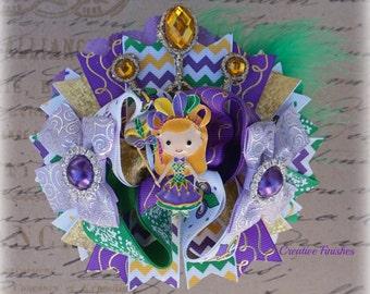 Mardi Gras Hair Bow, Masquerade Accessories, Mardi Gras Bows, Louisiana Bow, Green Purple Gold