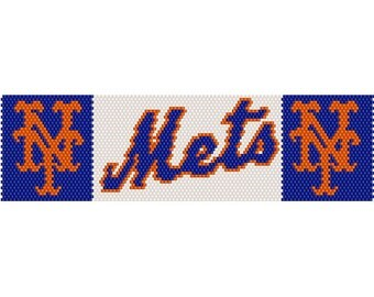 Mets Logo Peyote Bead Pattern, Bracelet Pattern, Bookmark Pattern, Seed Beading Pattern Miyuki Delica Size 11 Beads - PDF Instant Download