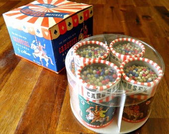15% OFF--1950s Carousel Match Barrels--Original Box--Made in Italy--Never Used, GREAT Condition--4 Tubes of 100 Matches--Wonderful Graphics