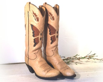 Vintage Cowboy Boots, Tall Tony Lama Black Label Cream & Brown All Leather with Butterfly Inlays, Cut-outs, Women's size 8 B, 9