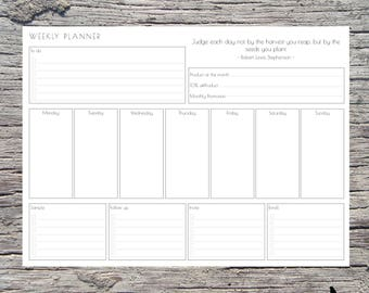 A4 doTERRA Essential Oils Weekly Planner, Printable Planner, PDF, Black & White - INSTANT DOWNLOAD