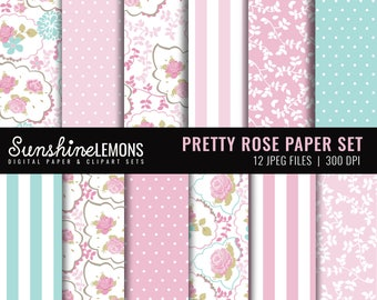 Pretty Rose Digital Scrapbooking Paper - COMMERCIAL USE Read Terms Below