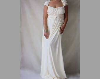 Maternity Wedding Dress Bohemian Maxi Gown Wrap Convertible Dress Plus Size Infinity Wedding Dress Made to Measure Weddung Gown Ivory