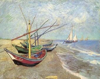 Van Gogh Reproduction. Fishing Boats on the Beach, 1888. Fine Art Print.