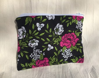 Cotton zipper pouch - Pink and White Flowers