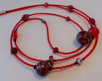 Red Lampwork Glass Handmade Necklace