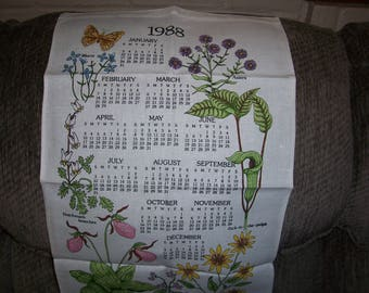 Vintage 1988 Calendar Tea Towel...Plants and Butterflies...Vibrant Colors...Beautiful...1980's Wall Art ...Great Condition...
