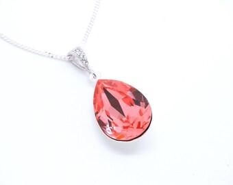 Rose Peach swarovski necklace Pastel swarovski crystal necklace, Bridal Necklace Wedding necklace, Bridal Jewelry, Bridesmaid necklace
