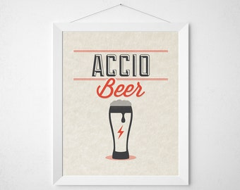 Wizard Beer Print - Accio Beer - typography kitchen wall decor poster wizard bar lover red modern minimal art lager stout brewery bartender