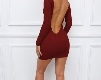"""Womens Ladies New  Burgundy """" Sienna"""" Low Back Backless Bodycon Party Long Sleeve Mini Dress"""
