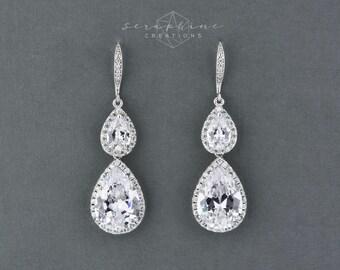 Wedding Earrings, Bridal CZ Earrings, Teardrop Crystal, Wedding Jewelry,Bridal Teardrop Earrings,Wedding Jewelry,Bridal Jewelry,  Vesta K172