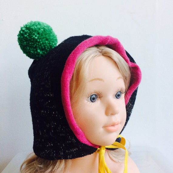 SMILE 1-3 Years Kids Childrens Bonnet in Cashmere and Wool Pom Poms Cashmere Lined Ribbon Bobble Hat Unisex