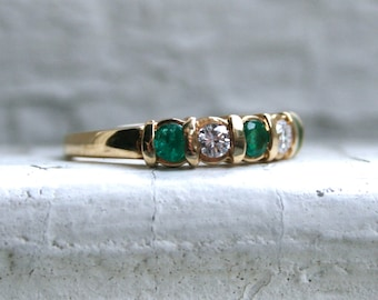 RESERVED - Vintage Channel 14K Yellow Gold Emerald and Diamond Wedding Band by Keepsake - 0.50ct.