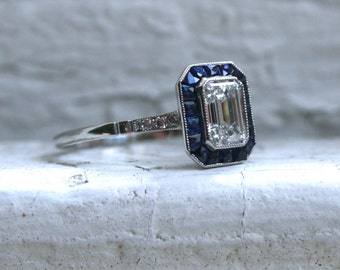 Vintage Art Deco Platinum Emerald Cut Diamond and Sapphire Engagement Ring - 1.53ct.