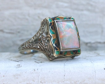 RESERVED  - Art Nouveau Vintage Opal and Enamel Ring Engagement Ring in 14K White Gold.