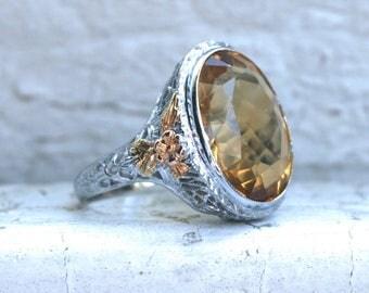 Gorgeous Vintage Filigree 14K White Gold Citrine Ring Engagement Ring - 7.00ct.