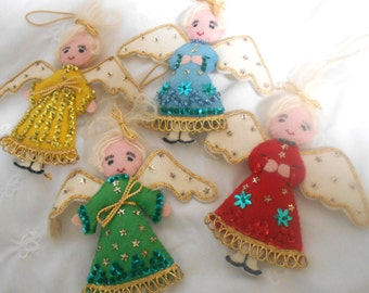 Four Felt Christmas Tree Ornaments Sequin Angel Ornaments