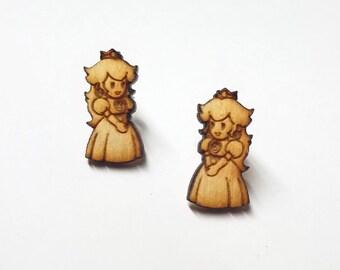 Princess Peach Earrings   Laser Cut Jewelry   Hypoallergenic Studs   Wood Earrings