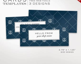 Business Card Template - Nautical Mini Business Card Design Template - DIY Printable Half Business Card Template Design Moo Mini BCHL AAC