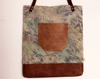Leather pocket tote bag, Abstract print shopper, thick leather handles, market bag, everyday bag, book bag. Ready to ship