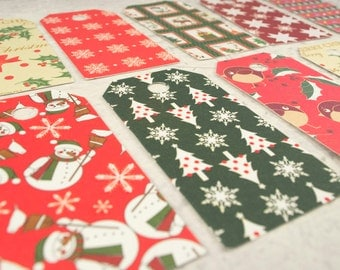 Christmas gift tags dozen 12 with glitters