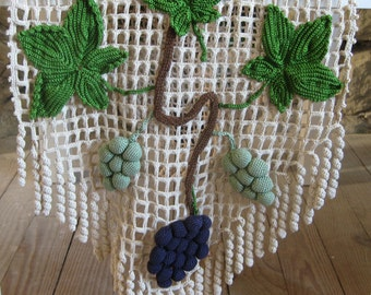 Heavy crochet cloth with vine leaves and grape appliques, French home decor