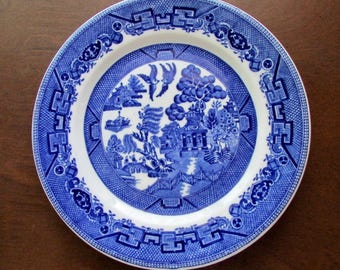 American Restaurant Ware Blue Willow Lunch Plate 1920s-40s Shenango China