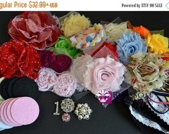 HOLIDAY SALE DIY Headband Making Kit - Baby Shower Collection - Design 20 Headbands - Chiffon Frayed Flowers - Birthday Party Favors