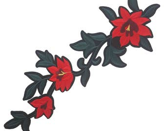 BIG Red Rose Flower Embroidered Patch Applique, Red Flower Iron On Patch