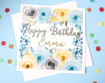 Personalised Floral Birthday Card, Greeting Card With Blue And Yellow Watercolour Flowers, UK