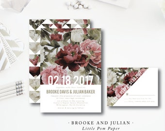 Brooke and Julian Design | Modern Watercolor Floral Design | Wedding Invitation and additional pieces | Printed by Darby Cards Collective