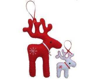 Reindeer Felt Hangings, PDF reindeer pattern, felt reindeer hangings