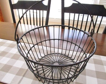 Rustic farmhouse metal basket, rustic home decor, farmhouse gathering basket, rustic cottage style decor, vintage condition