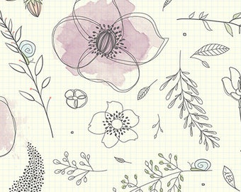 Gnome Matter What by Alicia Jacobs Dujets for Ink and Arrow Fabrics - Sketchbook Garden (  25835 -E Natural) - 1 Yard