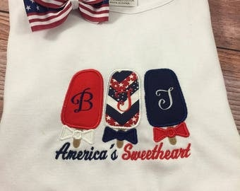 Girls Patriotic Shirt;4th of July;Red White And Blue;Personalized Shirt;Embroidered Shirt;Holiday Shirt;Toddler Shirt;Custom Shirt;Girls