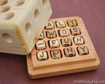 Wood Boggle Word Game Unique Handcrafted Gift Wooden Letter Family Classic Dice Puzzle