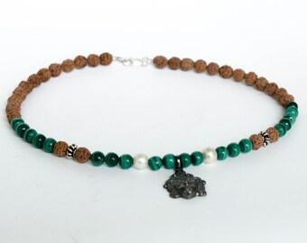 Kali Necklace Throat Chakra Choker Natural Rudraksha Malachite Pearls Sterling Silver Kali Goddess Pendant NEC0011