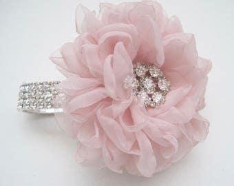 Romantic Blush Pink Chiffon Rhinestone Wrist Corsage with Gorgeous Rhinestone Accent Choose Bracelet and Center Embellishment Wedding Prom