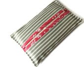 Grey Striped Fabric Paper Handkerchief Holder - Cotton Fabric Cover for Paper Tissues - Kleenex Cover Case - Fabric Case for Paper Hankies