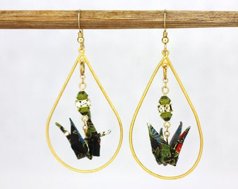Gold Dangle Earring Hoop Shape in Black and Green Origami Paper