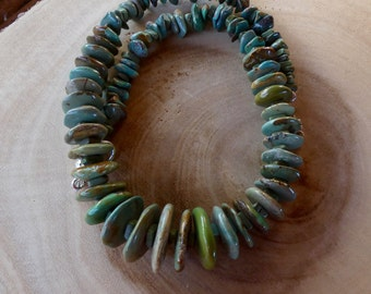 21 Inch Rustic Graduated Green Kingman Disk Turquoise  Necklace with Earrings