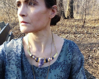 RAW AMETHYST COLLAR Necklace - ooak