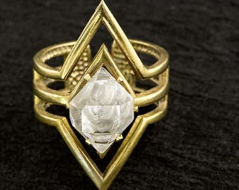 RAW HERKIMER DIAMOND In Diamond Ring