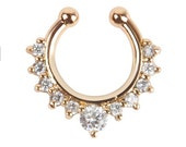 1PC gold plated  Crystal Fake Nose Ring - Faux Septum  Fake Septum Ring  Septum Ring /ZM