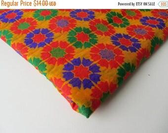 ON SALE Orange Red blue green graphic flowers on orange India velvet silk brocade fabric nr 200 fat quarter