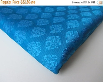 ON SALE SALE Blue flower Indian silk single tone fabric nr 144 Remnant
